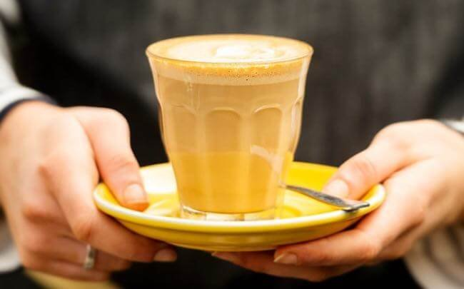 latte in a glass cup