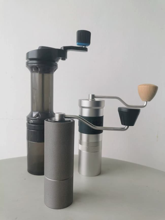 Timemore C2 next to Lido 3 and 1zpresso Jx